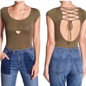 NWT Free People all about back lace up bodysuit